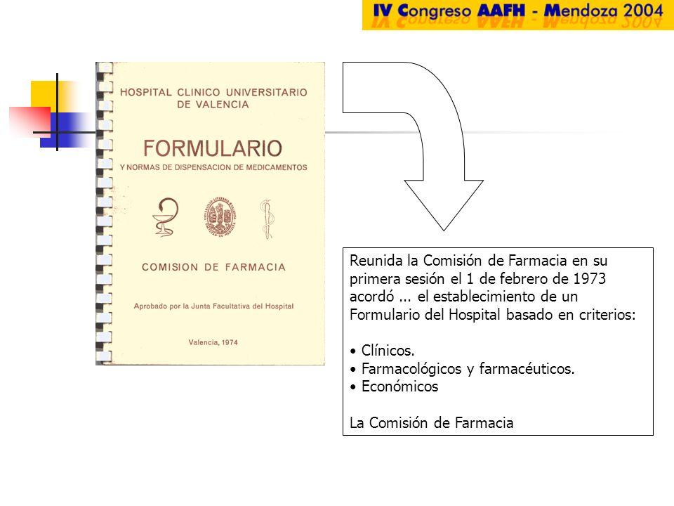 Reunida la Comisión de Farmacia en su primera sesión el 1 de febrero de 1973 acordó... el establecimiento de un Formulario del Hospital basado en crit