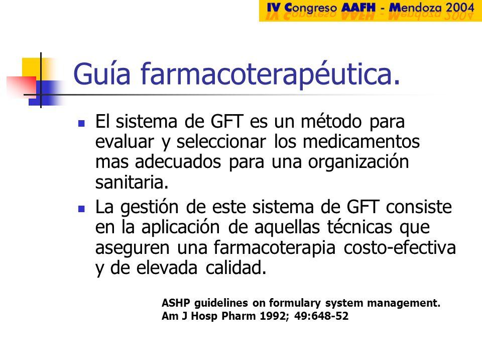 Guía farmacoterapéutica. El sistema de GFT es un método para evaluar y seleccionar los medicamentos mas adecuados para una organización sanitaria. La