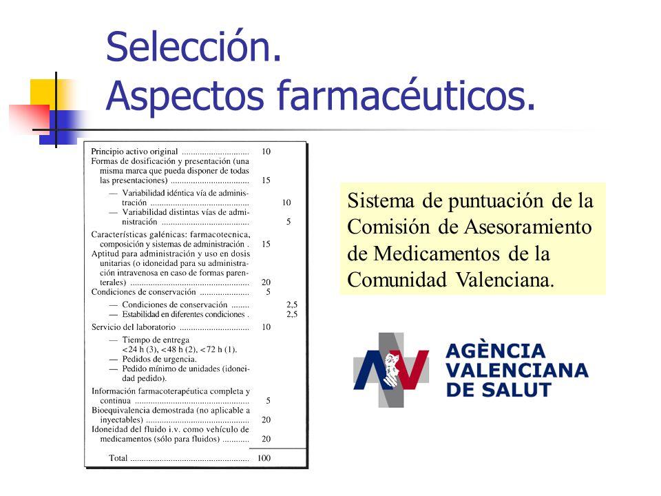 Selección. Aspectos farmacéuticos. Sistema de puntuación de la Comisión de Asesoramiento de Medicamentos de la Comunidad Valenciana.