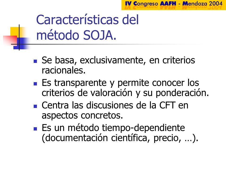 Características del método SOJA. Se basa, exclusivamente, en criterios racionales. Es transparente y permite conocer los criterios de valoración y su