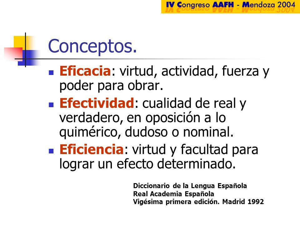 Conceptos. Eficacia: virtud, actividad, fuerza y poder para obrar. Efectividad: cualidad de real y verdadero, en oposición a lo quimérico, dudoso o no