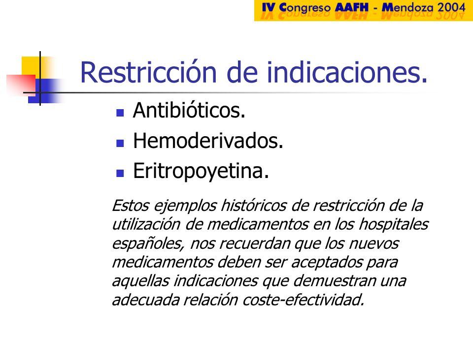Restricción de indicaciones. Antibióticos. Hemoderivados. Eritropoyetina. Estos ejemplos históricos de restricción de la utilización de medicamentos e