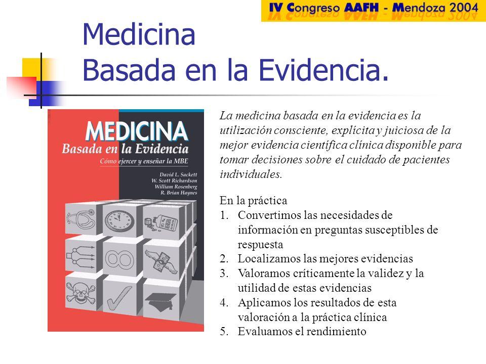 Medicina Basada en la Evidencia. En la práctica 1.Convertimos las necesidades de información en preguntas susceptibles de respuesta 2.Localizamos las