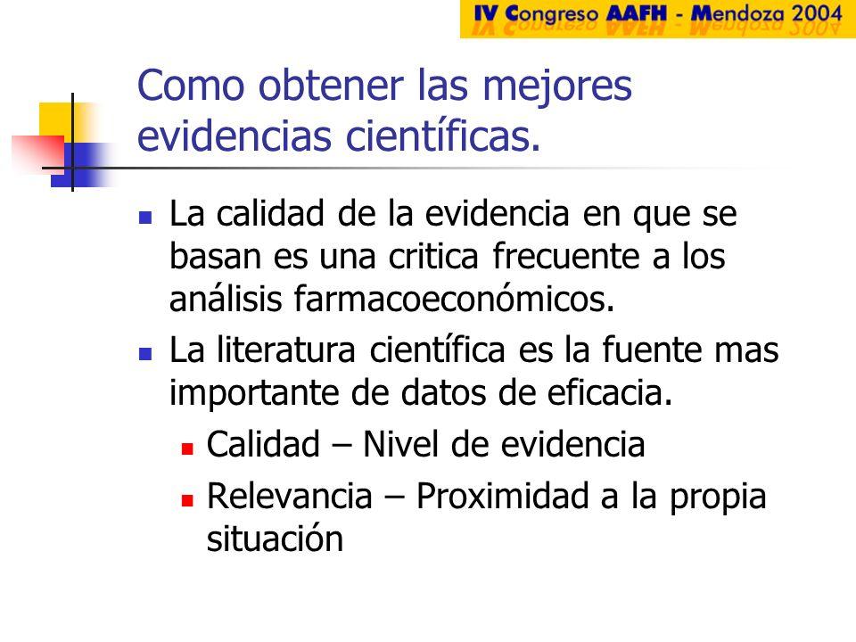 Como obtener las mejores evidencias científicas. La calidad de la evidencia en que se basan es una critica frecuente a los análisis farmacoeconómicos.