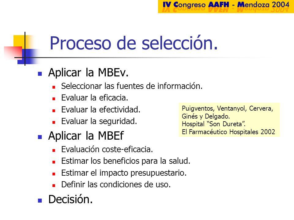 Proceso de selección. Aplicar la MBEv. Seleccionar las fuentes de información. Evaluar la eficacia. Evaluar la efectividad. Evaluar la seguridad. Apli