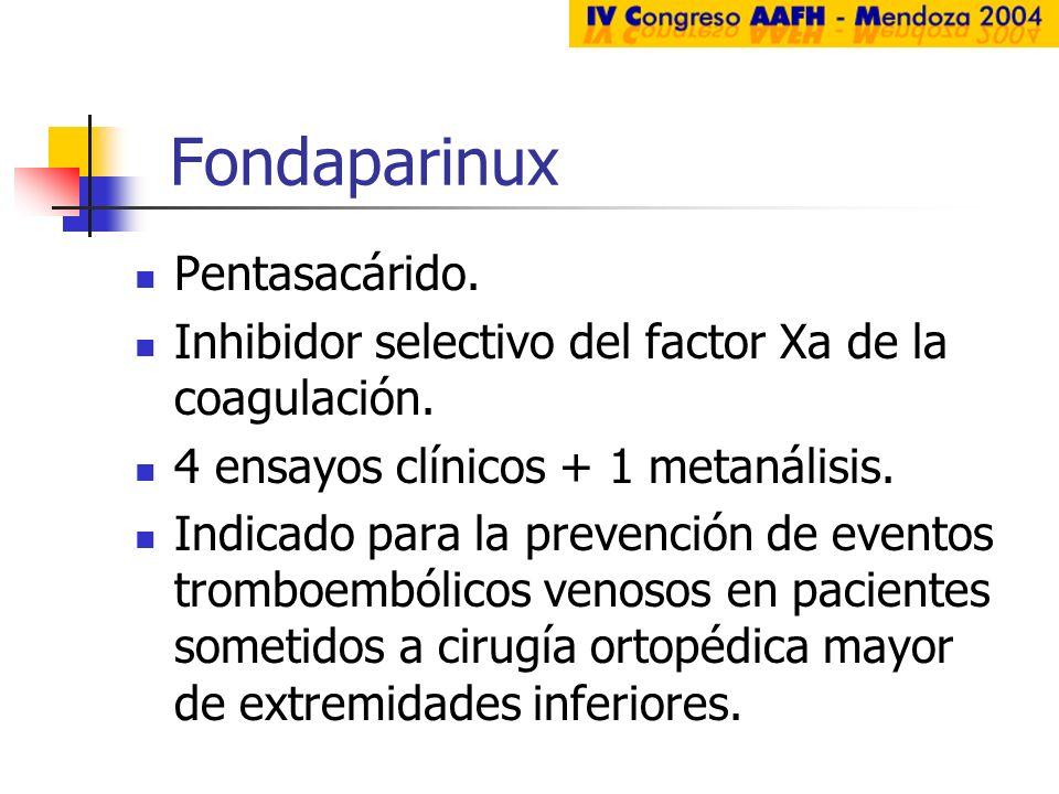 Fondaparinux Pentasacárido. Inhibidor selectivo del factor Xa de la coagulación. 4 ensayos clínicos + 1 metanálisis. Indicado para la prevención de ev