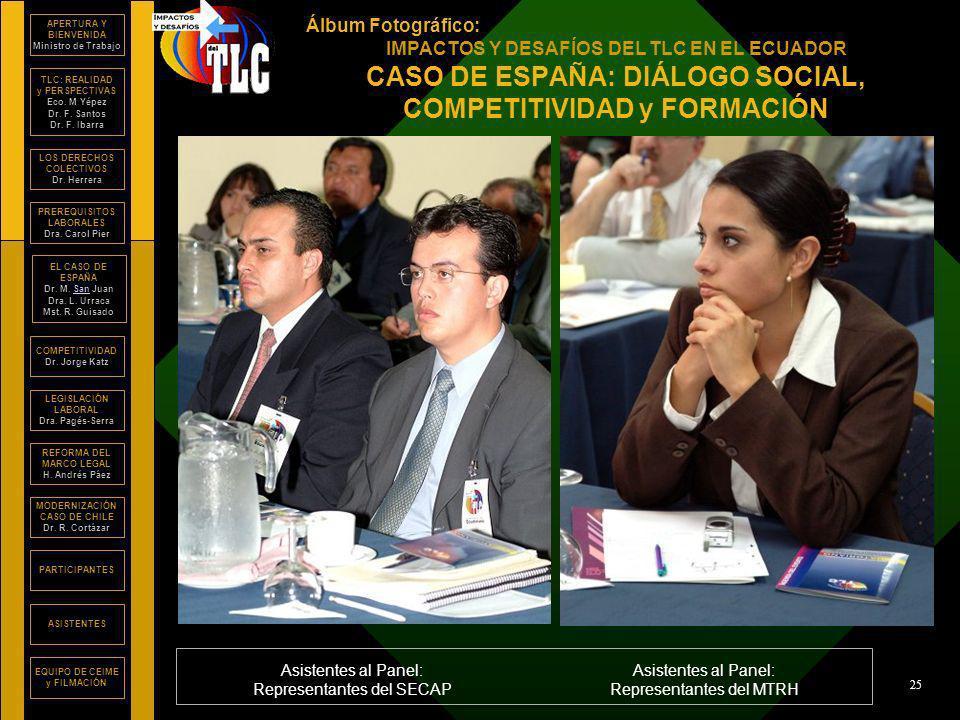 Álbum Fotográfico: IMPACTOS Y DESAFÍOS DEL TLC EN EL ECUADOR APERTURA Y BIENVENIDA Ministro de Trabajo TLC: REALIDAD y PERSPECTIVAS Eco.