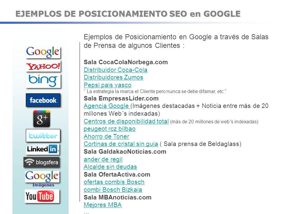 EJEMPLOS DE POSICIONAMIENTO SEO en GOOGLE Ejemplos de Posicionamiento en Google a través de Salas de Prensa de algunos Clientes : Sala CocaColaNorbega