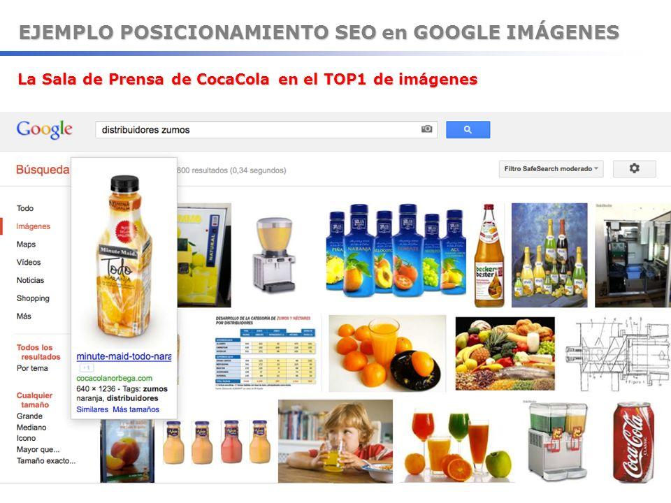 EJEMPLO POSICIONAMIENTO SEO en GOOGLE IMÁGENES La Sala de Prensa de CocaCola en el TOP1 de imágenes La Sala de Prensa de CocaCola en el TOP1 de imágen