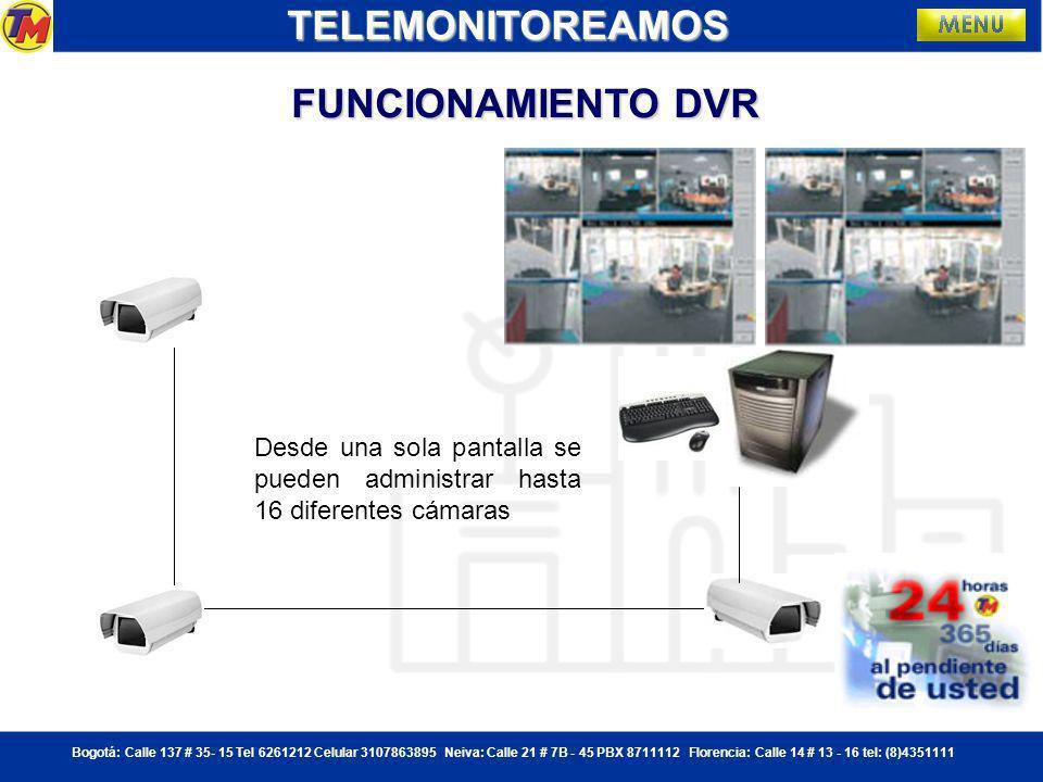 Bogotá: Calle 137 # 35- 15 Tel 6261212 Celular 3107863895 Neiva: Calle 21 # 7B - 45 PBX 8711112 Florencia: Calle 14 # 13 - 16 tel: (8)4351111 CCTV: CIRCUITO CERRADO DE TELEVISION TELEMONITOREAMOS Cámaras.