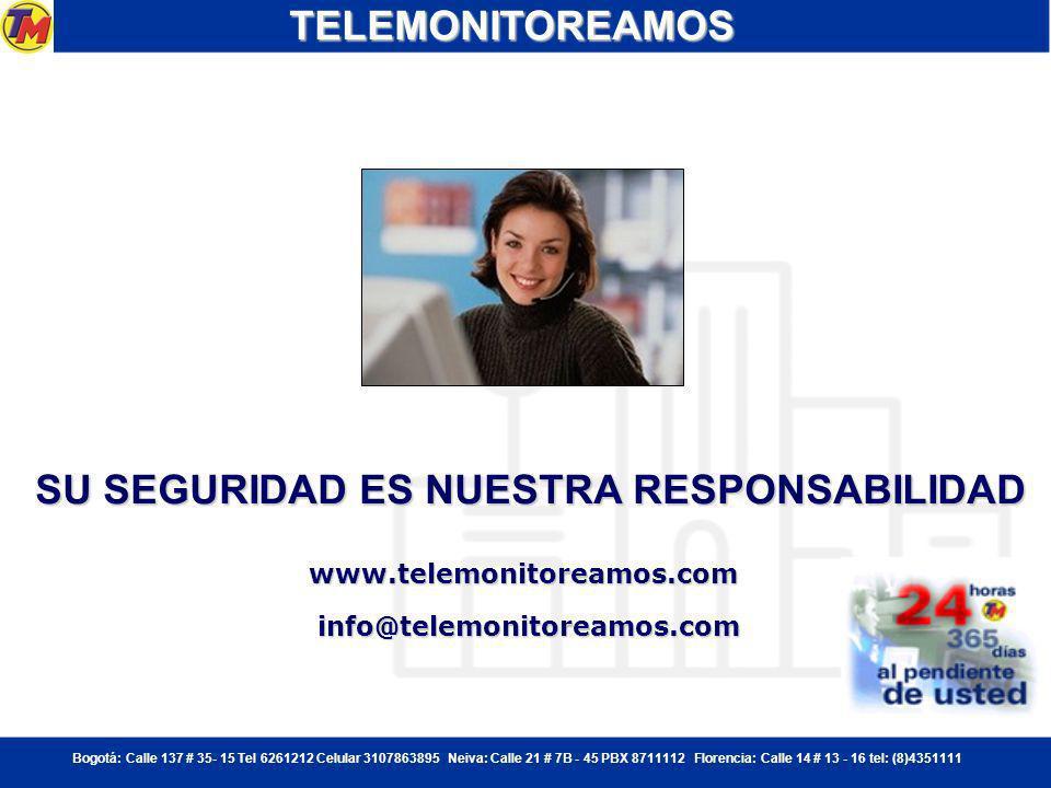 Bogotá: Calle 137 # 35- 15 Tel 6261212 Celular 3107863895 Neiva: Calle 21 # 7B - 45 PBX 8711112 Florencia: Calle 14 # 13 - 16 tel: (8)4351111 PORTEROTELEMONITOREAMOS - MAXIMO CONTROL DE VISITANTES Y VEHICULOS Minimiza los riesgos en el acceso de visitantes, objetos y vehículos a empresas y viviendas Registro fotográfico de personas.