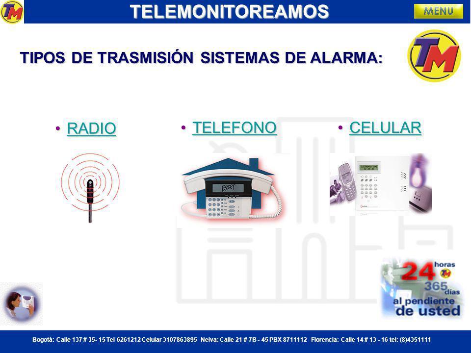 Bogotá: Calle 137 # 35- 15 Tel 6261212 Celular 3107863895 Neiva: Calle 21 # 7B - 45 PBX 8711112 Florencia: Calle 14 # 13 - 16 tel: (8)4351111TELEMONITOREAMOS Paneles para detección de intrusos.