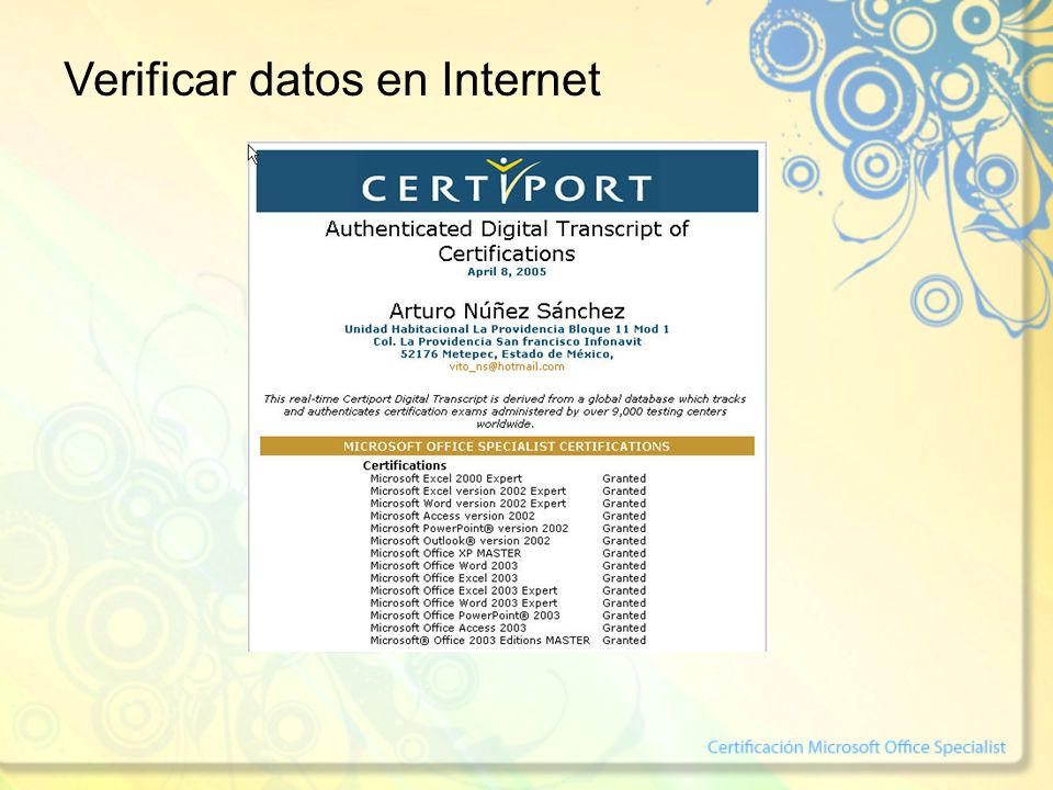 Verificar datos en Internet
