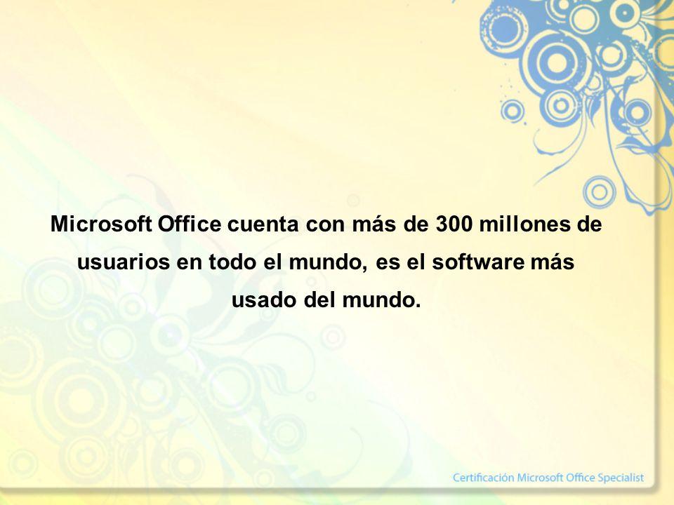 Microsoft Office cuenta con más de 300 millones de usuarios en todo el mundo, es el software más usado del mundo.