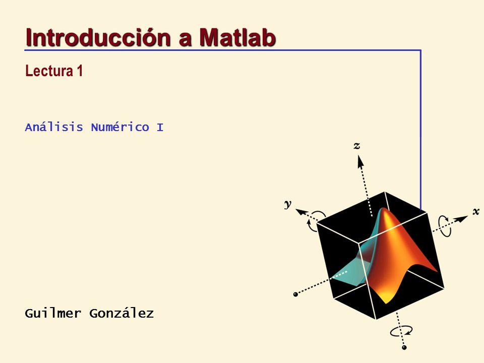12 Introducción a Matlab Cálculos interactivos Matlab usa doble precision con lo cual, se cuenta con 16 dígitos significativos >> format long >> format compact Las variables pueden ser almacenadas en un archivo >> save dump >> clear >> load dump