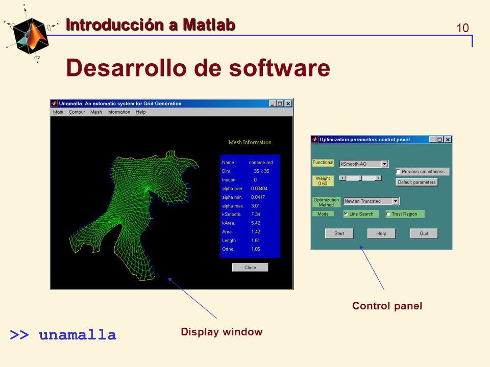 10 Introducción a Matlab Desarrollo de software >> unamalla Control panel Display window