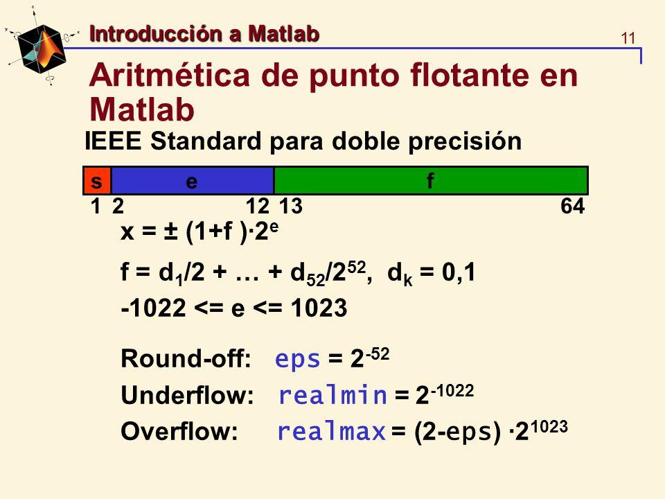 11 Introducción a Matlab Aritmética de punto flotante en Matlab IEEE Standard para doble precisión x = ± (1+f )·2 e f = d 1 /2 + … + d 52 /2 52, d k =