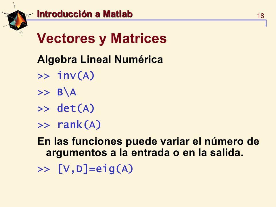 18 Introducción a Matlab Vectores y Matrices Algebra Lineal Numérica >> inv(A) >> B\A >> det(A) >> rank(A) En las funciones puede variar el número de