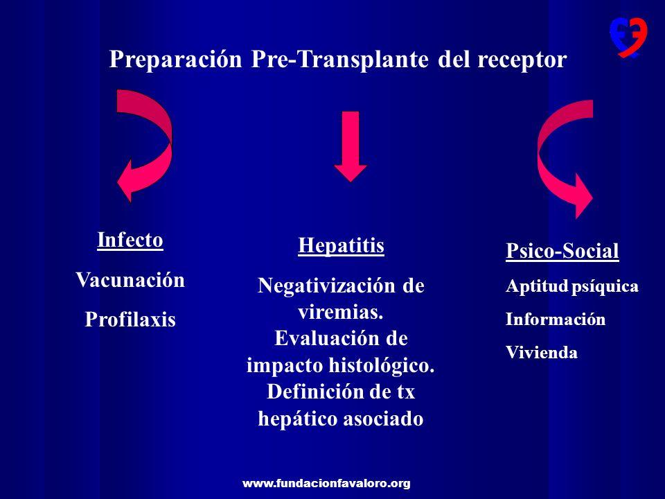 www.fundacionfavaloro.org Preparación Pre-Transplante del receptor Infecto Vacunación Profilaxis Hepatitis Negativización de viremias. Evaluación de i