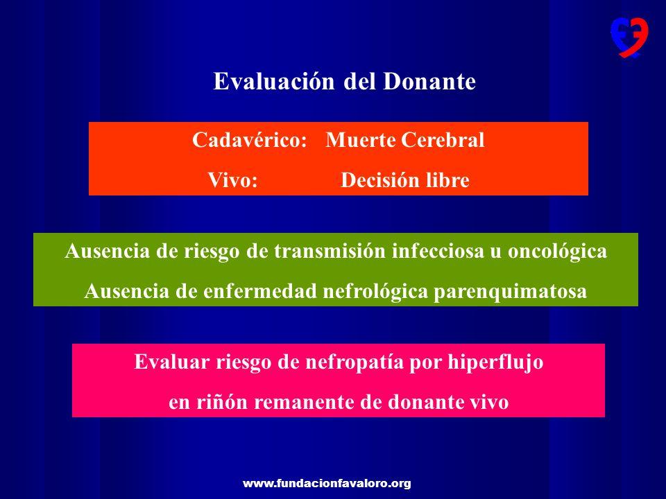 www.fundacionfavaloro.org Evaluación del Donante Cadavérico: Muerte Cerebral Vivo:Decisión libre Ausencia de riesgo de transmisión infecciosa u oncoló