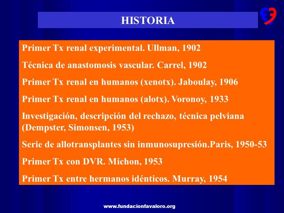 www.fundacionfavaloro.org HISTORIA Primer Tx renal experimental. Ullman, 1902 Técnica de anastomosis vascular. Carrel, 1902 Primer Tx renal en humanos