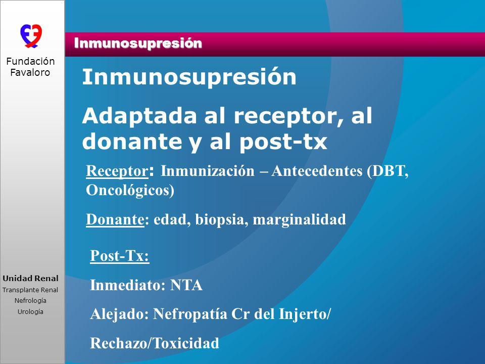 www.fundacionfavaloro.org Unidad Renal Transplante Renal Nefrología Urología Fundación Favaloro Inmunosupresión Inmunosupresión Adaptada al receptor,