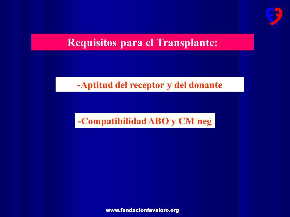 www.fundacionfavaloro.org Requisitos para el Transplante: -Aptitud del receptor y del donante -Compatibilidad ABO y CM neg