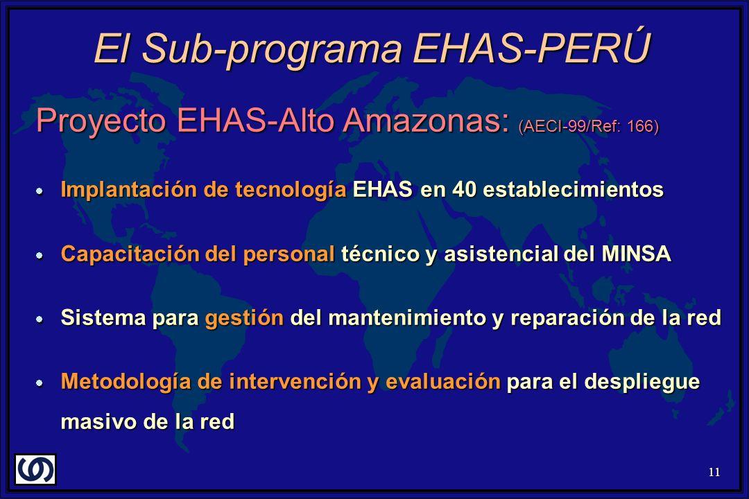 11 Proyecto EHAS-Alto Amazonas: (AECI-99/Ref: 166) Implantación de tecnología EHAS en 40 establecimientos Implantación de tecnología EHAS en 40 establecimientos Capacitación del personal técnico y asistencial del MINSA Capacitación del personal técnico y asistencial del MINSA Sistema para gestión del mantenimiento y reparación de la red Sistema para gestión del mantenimiento y reparación de la red Metodología de intervención y evaluación para el despliegue masivo de la red Metodología de intervención y evaluación para el despliegue masivo de la red El Sub-programa EHAS-PERÚ