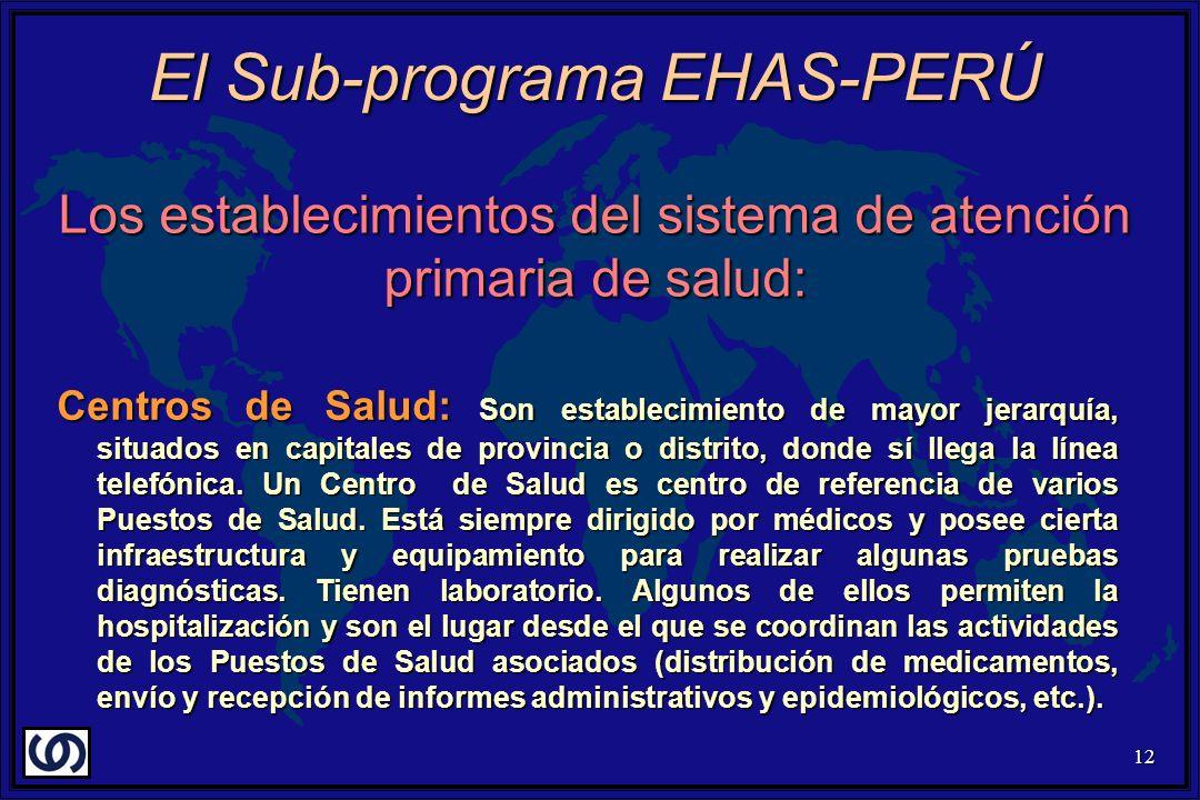 12 Los establecimientos del sistema de atención primaria de salud: Centros de Salud: Son establecimiento de mayor jerarquía, situados en capitales de