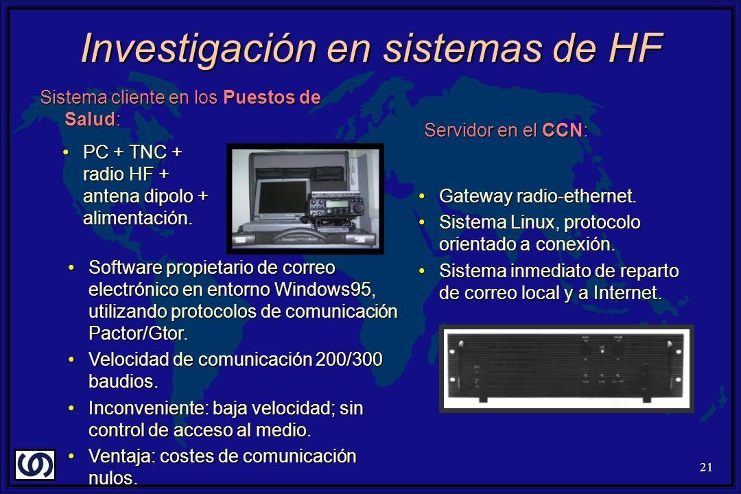 21 Investigación en sistemas de HF Sistema cliente en los Puestos de Salud: PC + TNC + radio HF + antena dipolo + alimentación.PC + TNC + radio HF + antena dipolo + alimentación.