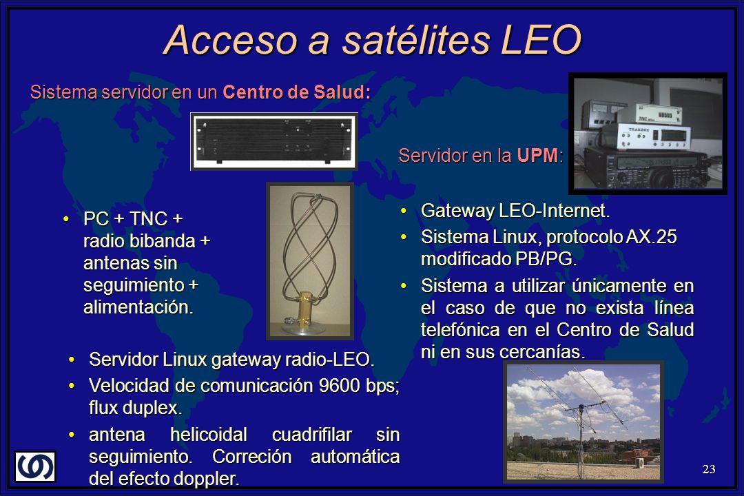 23 Acceso a satélites LEO Sistema servidor en un Centro de Salud: PC + TNC + radio bibanda + antenas sin seguimiento + alimentación.PC + TNC + radio bibanda + antenas sin seguimiento + alimentación.
