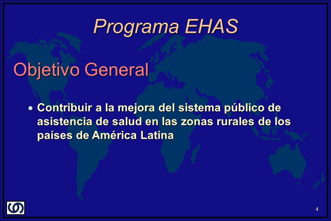 4 Objetivo General Contribuir a la mejora del sistema público de asistencia de salud en las zonas rurales de los países de América Latina Contribuir a la mejora del sistema público de asistencia de salud en las zonas rurales de los países de América Latina Programa EHAS