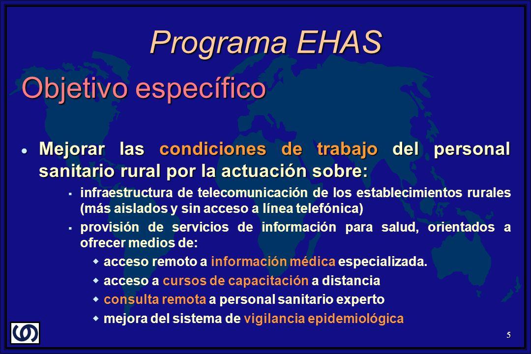 5 Objetivo específico Mejorar las condiciones de trabajo del personal sanitario rural por la actuación sobre: Mejorar las condiciones de trabajo del p
