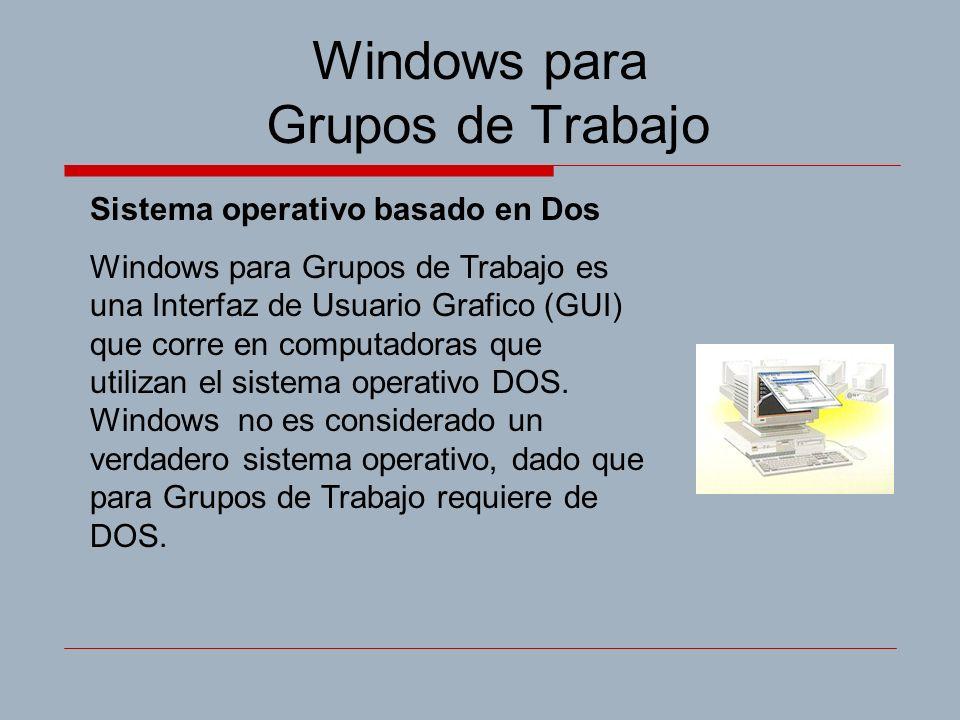 Windows para Grupos de Trabajo Sistema operativo basado en Dos Windows para Grupos de Trabajo es una Interfaz de Usuario Grafico (GUI) que corre en computadoras que utilizan el sistema operativo DOS.
