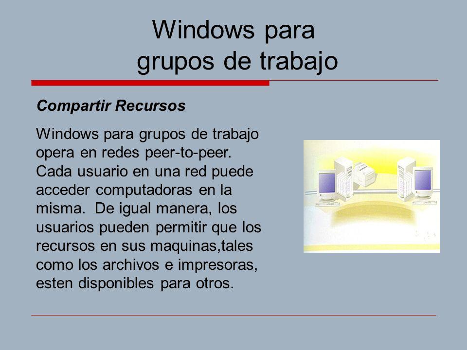 Windows para grupos de trabajo Compartir Recursos Windows para grupos de trabajo opera en redes peer-to-peer.