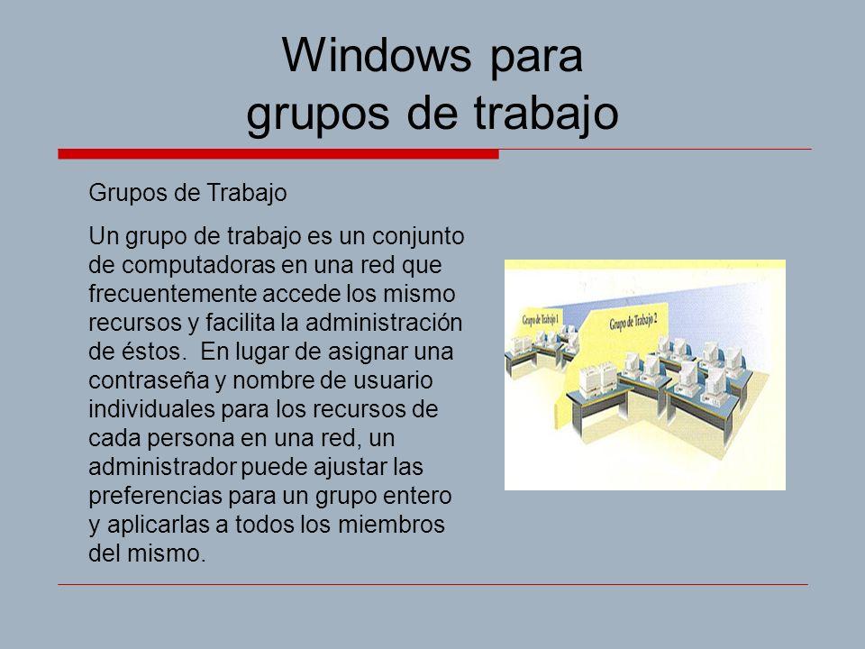Windows para grupos de trabajo Grupos de Trabajo Un grupo de trabajo es un conjunto de computadoras en una red que frecuentemente accede los mismo recursos y facilita la administración de éstos.