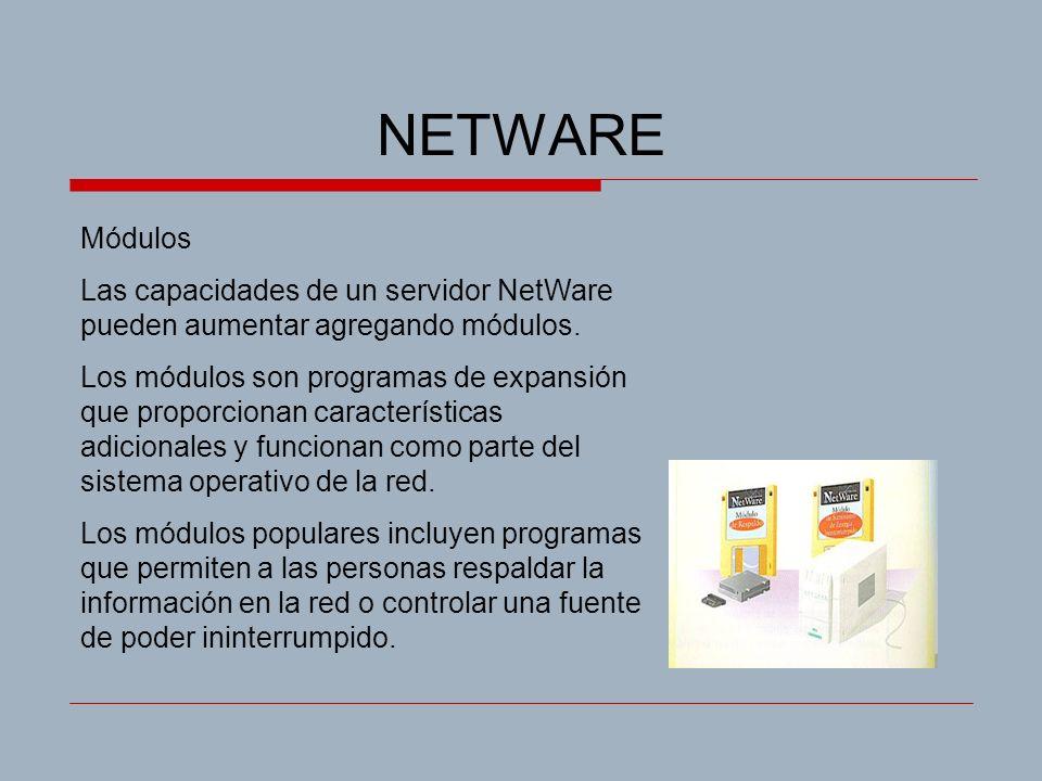 NETWARE Módulos Las capacidades de un servidor NetWare pueden aumentar agregando módulos. Los módulos son programas de expansión que proporcionan cara