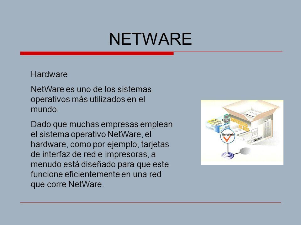 NETWARE Hardware NetWare es uno de los sistemas operativos más utilizados en el mundo. Dado que muchas empresas emplean el sistema operativo NetWare,