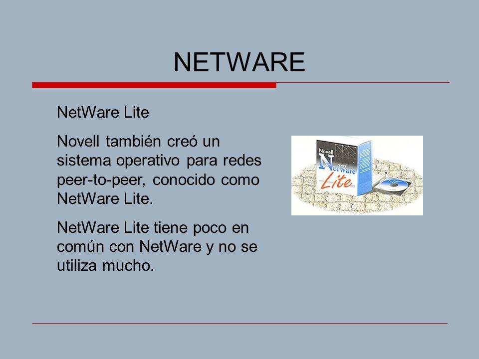 NETWARE NetWare Lite Novell también creó un sistema operativo para redes peer-to-peer, conocido como NetWare Lite. NetWare Lite tiene poco en común co