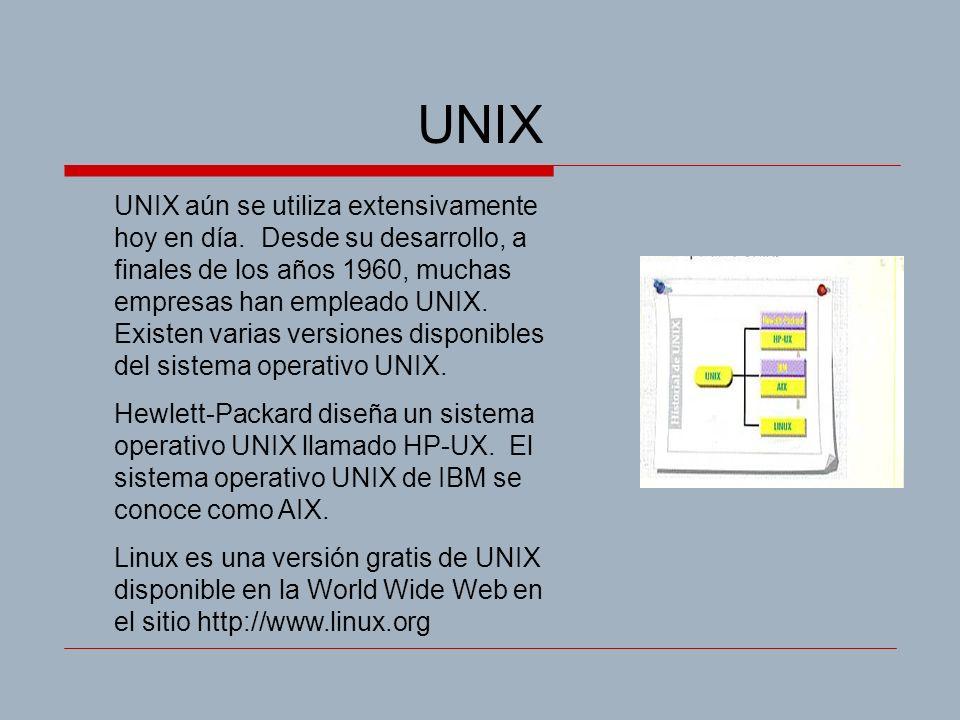 UNIX UNIX aún se utiliza extensivamente hoy en día. Desde su desarrollo, a finales de los años 1960, muchas empresas han empleado UNIX. Existen varias