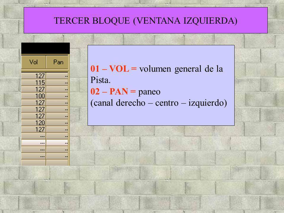 TERCER BLOQUE (VENTANA IZQUIERDA) 01 – VOL = volumen general de la Pista. 02 – PAN = paneo (canal derecho – centro – izquierdo)
