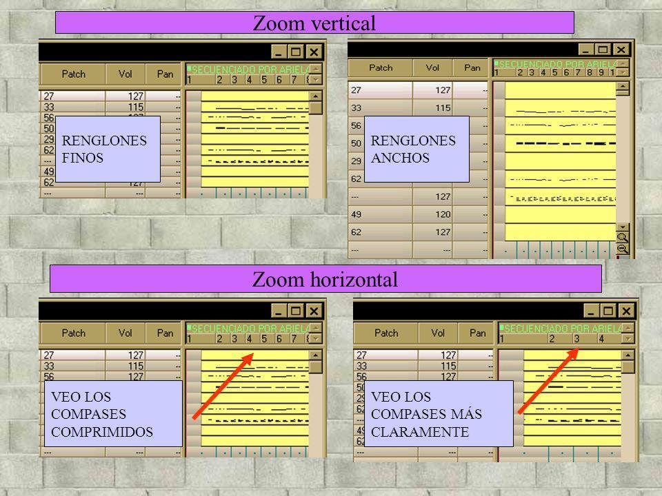 Zoom vertical Zoom horizontal RENGLONES FINOS RENGLONES ANCHOS VEO LOS COMPASES COMPRIMIDOS VEO LOS COMPASES MÁS CLARAMENTE