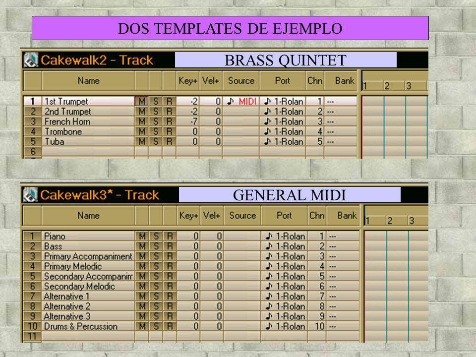 DOS TEMPLATES DE EJEMPLO BRASS QUINTET GENERAL MIDI