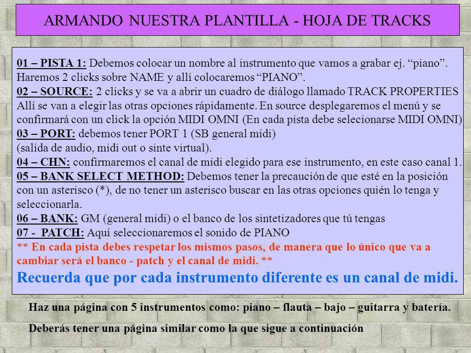 01 – PISTA 1: Debemos colocar un nombre al instrumento que vamos a grabar ej. piano. Haremos 2 clicks sobre NAME y allí colocaremos PIANO. 02 – SOURCE