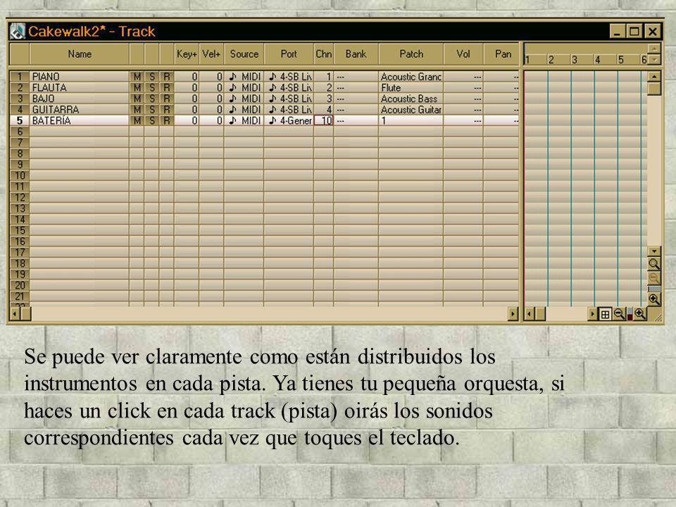 Se puede ver claramente como están distribuidos los instrumentos en cada pista. Ya tienes tu pequeña orquesta, si haces un click en cada track (pista)