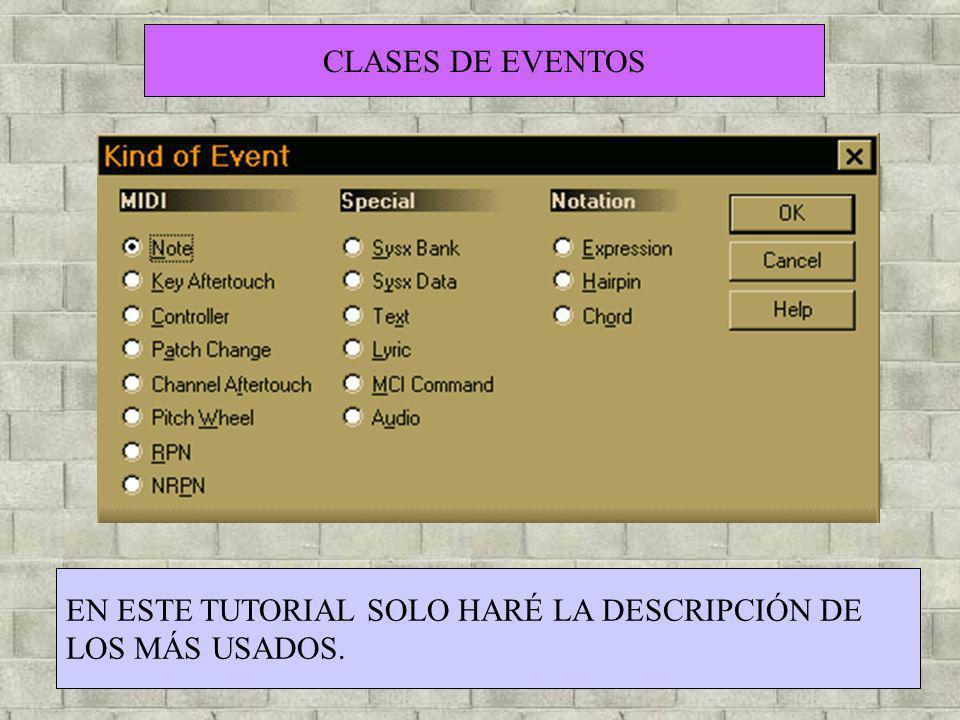 CLASES DE EVENTOS EN ESTE TUTORIAL SOLO HARÉ LA DESCRIPCIÓN DE LOS MÁS USADOS.
