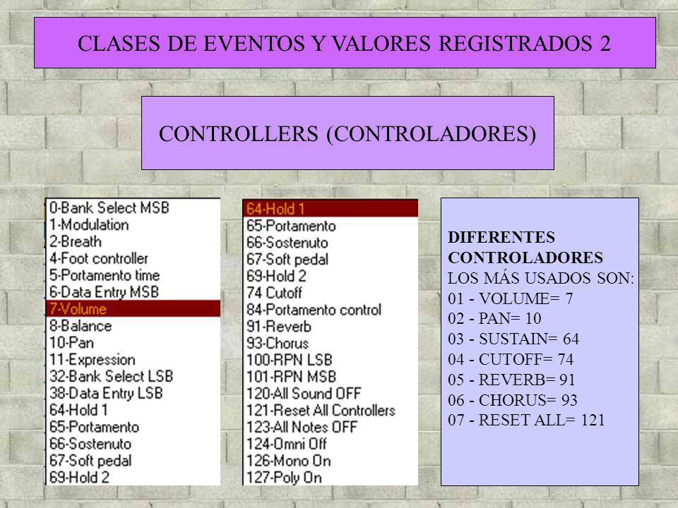 CLASES DE EVENTOS Y VALORES REGISTRADOS 2 CONTROLLERS (CONTROLADORES) DIFERENTES CONTROLADORES LOS MÁS USADOS SON: 01 - VOLUME= 7 02 - PAN= 10 03 - SU