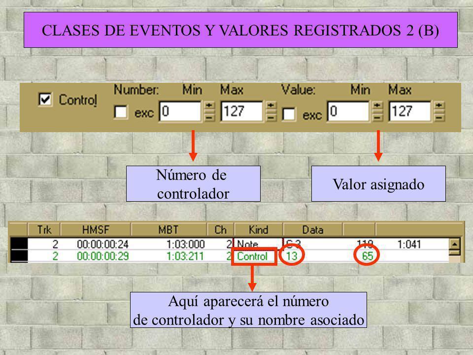 CLASES DE EVENTOS Y VALORES REGISTRADOS 2 (B) Número de controlador Valor asignado Aquí aparecerá el número de controlador y su nombre asociado