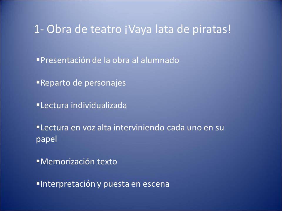 1- Obra de teatro ¡Vaya lata de piratas! Presentación de la obra al alumnado Reparto de personajes Lectura individualizada Lectura en voz alta intervi