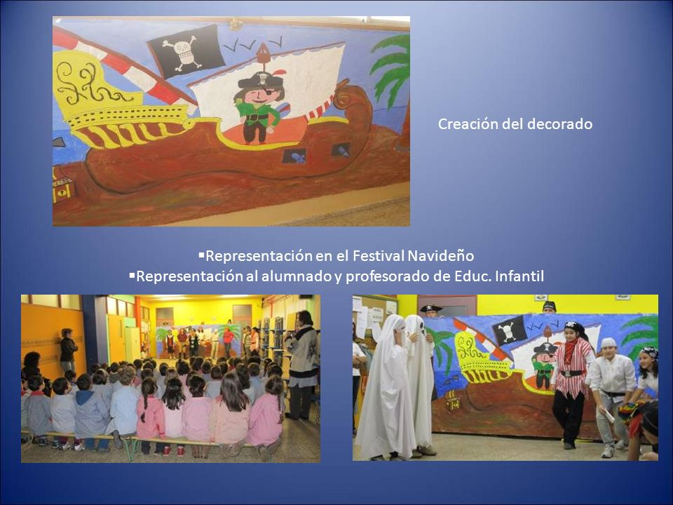Creación del decorado Representación en el Festival Navideño Representación al alumnado y profesorado de Educ.